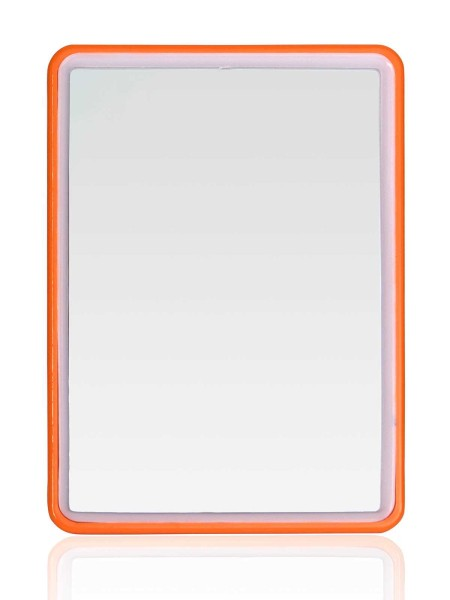 Eckiger kleiner Stellspiegel, Kosmetex Spiegel zum Stellen oder Hängen, Farbe Orange