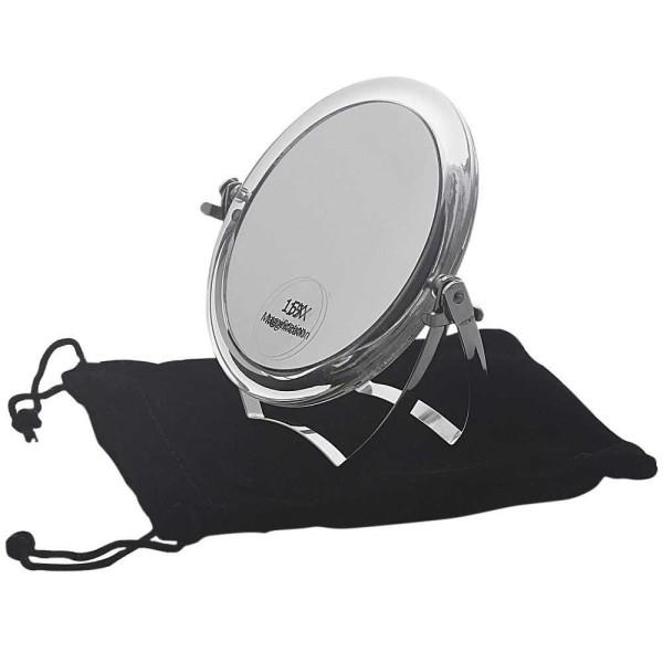 Reise-Spiegel 11cm Standspiegel mit 15-fach Vergrößerung RS 1:1, Acryl mit Metallbügel, Kosmetik-Spi