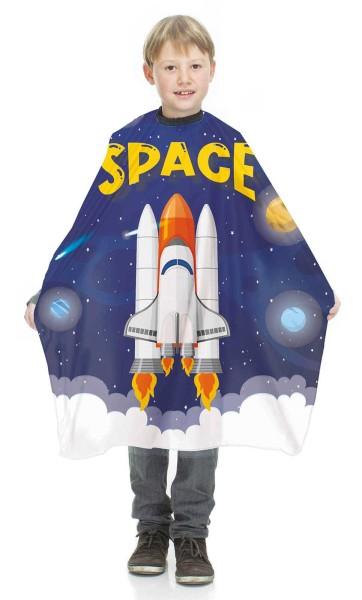 Friseurumhang für Kinder mit Rakete Space Applikationen, Haarschneideumhang