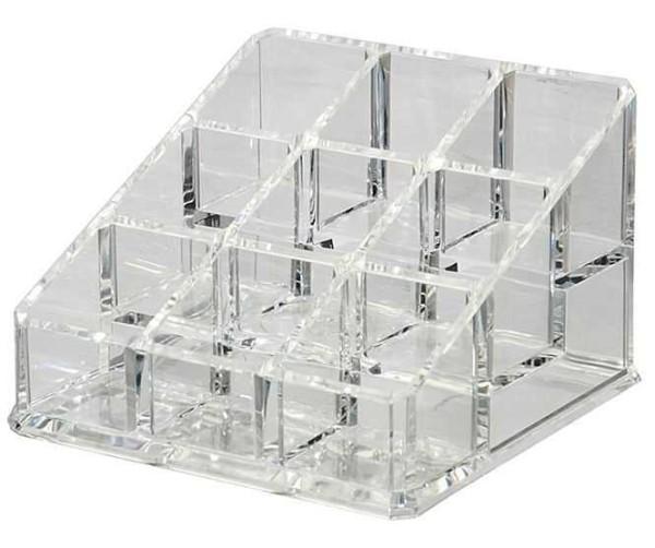 Kosmetik Accessoire Ständer, Acryl Organizer, 9 Fächer, 11x11cm, leer