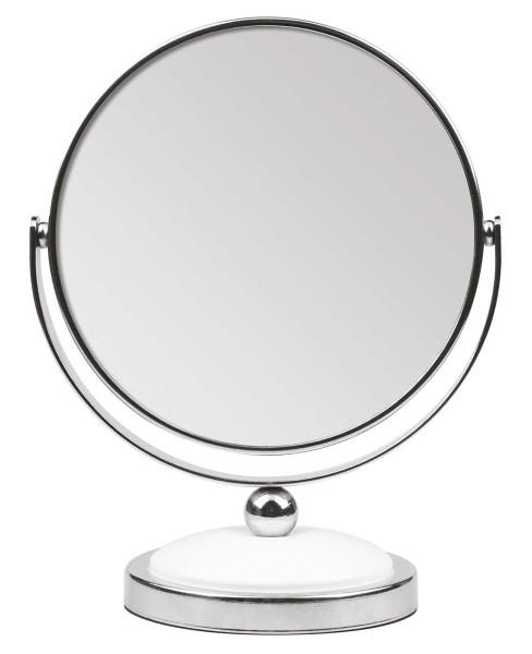 Kosmetex Stand-Spiegel mit 5-fach Vergrößerung, 2 Spiegelflächen, 18cm Ø 12cm, Kosmetik-Spiegel dreh