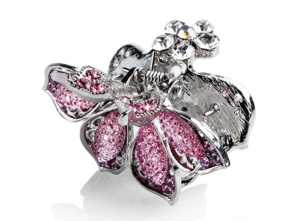 Metall Haarklammer mit rosa Strasssteinen, Blumenform