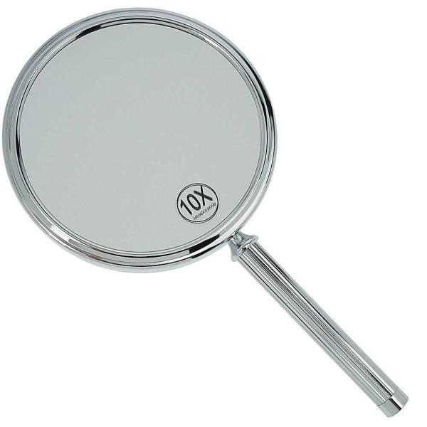 Handspiegel mit 10-fach Vergrößerung, Metall Chromfarben, 2 Spiegelflächen, Kosmetik-Spiegel