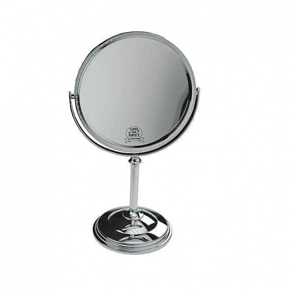 Doppelseitiger Kosmetik-Spiegel. Stellspiegel 10-fach Vergrößerung, Metall, 360° drehbar